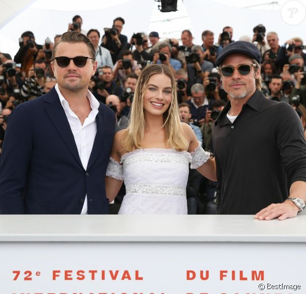 "Leonardo DiCaprio, Margot Robbie, Brad Pitt - Photocall du film ""Once upon a time in Hollywood"" lors du 72ème festival du film de Cannes le 22 mai 2019. © Jacovides-Moreau/Bestimage"