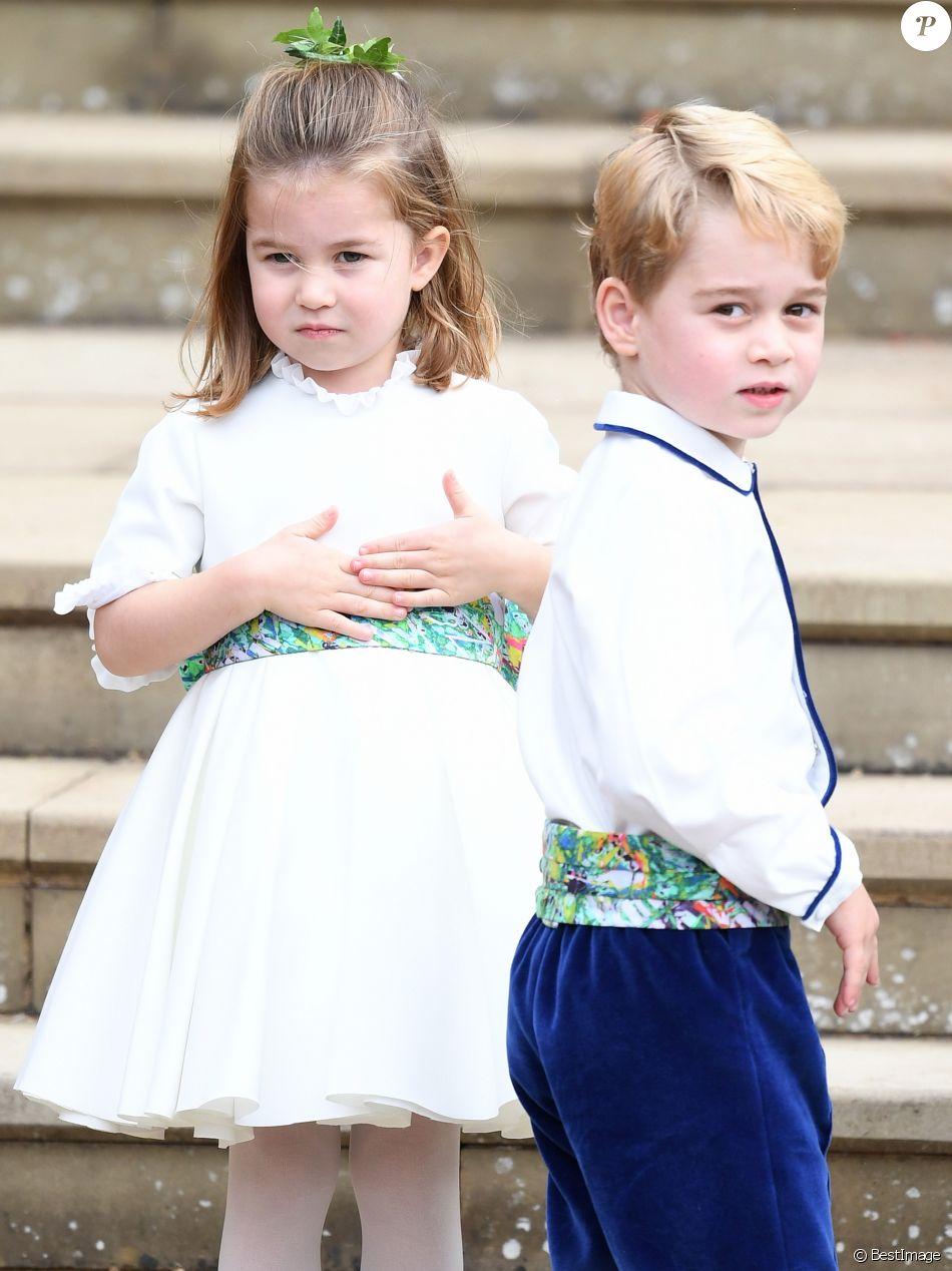 La princesse Charlotte de Cambridge, le prince George - Sorties après la cérémonie de mariage de la princesse Eugenie d'York et Jack Brooksbank en la chapelle Saint-George au château de Windsor le 12 octobre 2018.