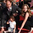 Dwayne Johnson avec sa femme Lauren Hashian et sa fille Jasmine - Dwayne Johnson reçoit son étoile sur le walk of Fame à Hollywood, le 13 décembre 2017