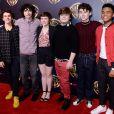 Finn Wolfhard, Aneurin Barnard, Ansel Elgort et Oakes Fegley à la soirée Warner Bros Pictures Presentation à Las Vegas, le 2 avril 2019.