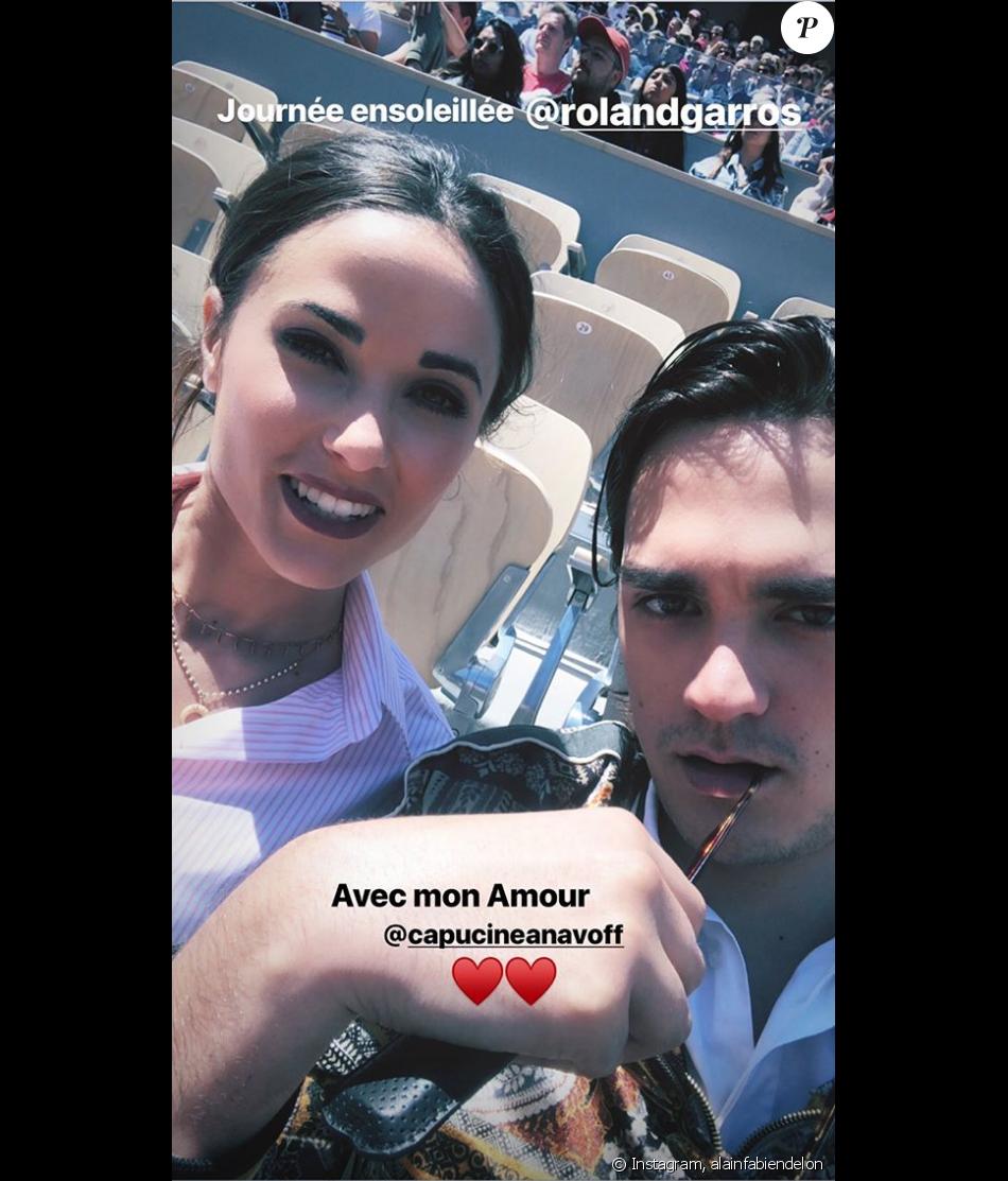 Alain-Fabien Delon et Capucine Anav réunis à Roland-Garros, le 28 mai 2019.