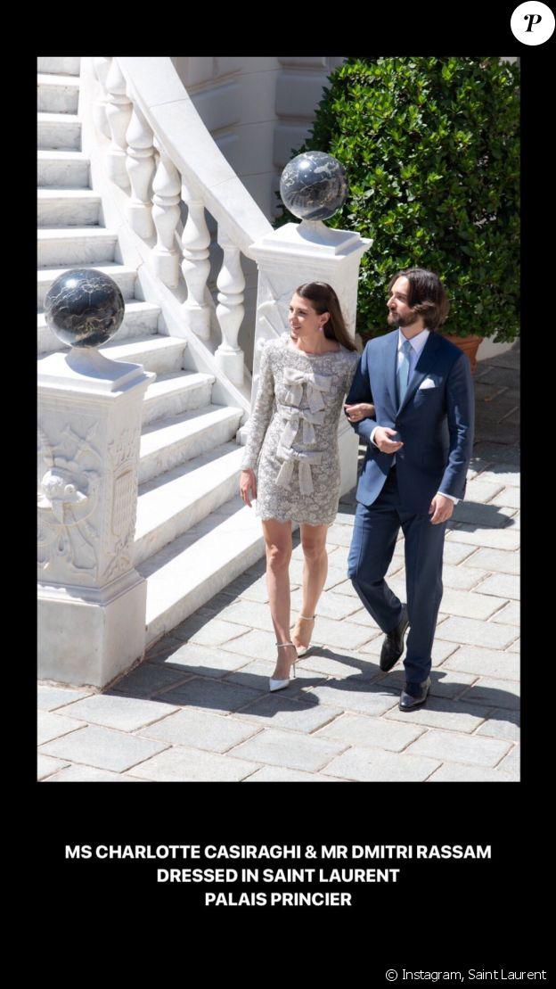La maison Saint Laurent a habillé Charlotte Casiraghi pour son mariage avec Dimitri Rassam le 1er juin 2019 à Monaco.