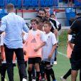 David Beckham passe la journée avec les jeunes de l'académie Inter Miami CF au Lockhart Stadium à Fort Lauderdale. Le 2 juin 2019.