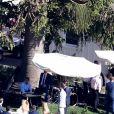 Vue aérienne des invités au mariage de K. Schwarzenegger et C. Pratt au Ranch de San Ysidro à Montecito au États-Unis, le 8 juin 2019