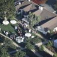 Vue aérienne des invités au mariage de K. Schwarzenegger et C. Pratt au Ranch de San Ysidro à Montecito au États-Unis, le 8 juin 2019 o