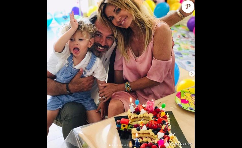 Ingrid Chauvin et son mari Thierry Peythieu célèbrent le troisième anniversaire de leur fils Tom lundi 10 juin 2019.
