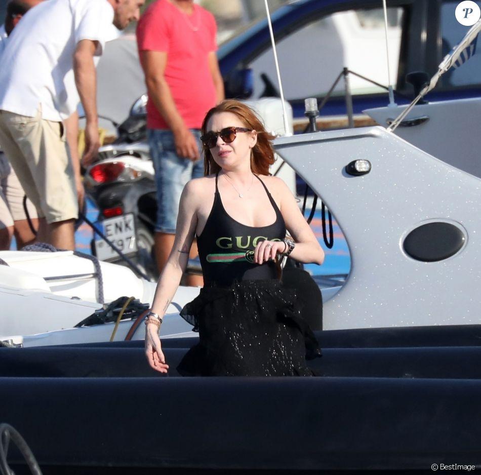 Exclusif - Lindsay Lohan est de retour sur l'île de Mykonos, pour ses vacances d'été, le 17 juin 2019.