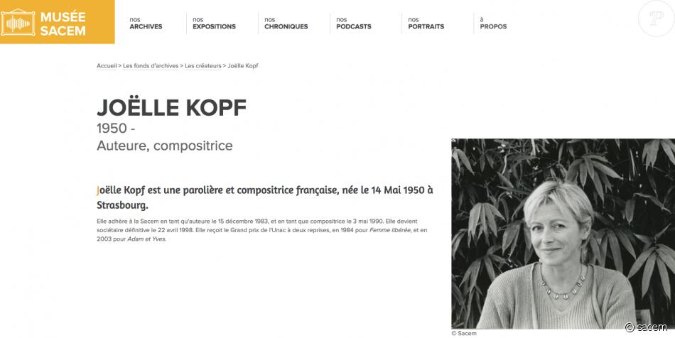 Joëlle Kopf, la parolière, est décédée le 22 juin 2019.
