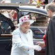 La reine Elisabeth II d'Angleterre vient assister au service religieux de la paroisse de Canongate à Edimbourg, le 30 juin 2019.