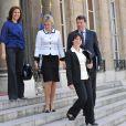 Nora Berra, Nadine Morano, Fadela Amara et Xavier Darcos sortent du conseil des ministres. 24/06/09