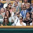 Kate Middleton, Meghan Markle et Pippa Middleton très complices lors du tournois de Wimbledon, le samedi 13 juillet 2019.