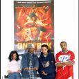 """Archives- Présentation du film """"Ong Bak"""" en présence des artistes de la BO : Kjaloa, Tragédie et Busta Flex, le 16 mars 2004, à Paris."""
