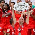 Franck Ribéry célèbre le titre de champion d'allemagne (victoire face à l'Eintracht Francfort) et son dernier match sous les couleurs du Bayern de Munich - Munich le 18 Mai 2019. 18/05/2019 - Munich