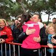 Daniel Ducruet, venu avec sa mère Maguy et sa fille Linoué, avec sa fille Pauline Ducruet lors du départ de celle-ci pour le Rallye Aïcha des Gazelles le 17 mars 2018 à Monaco. © Bruno Bebert/Bestimage