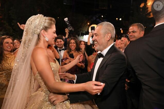 Elie Saab et sa belle,fille Christina Mourad lors du mariage d\u0027Elie Saab