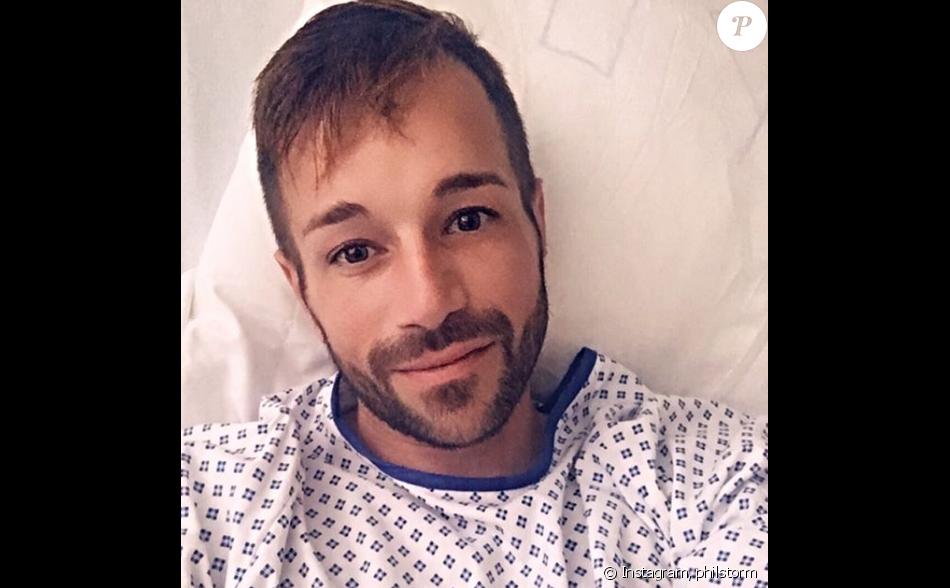 Phil Storm sur son lit d'hôpital après son opération du coeur, le 24 juillet 2019, sur Instagram