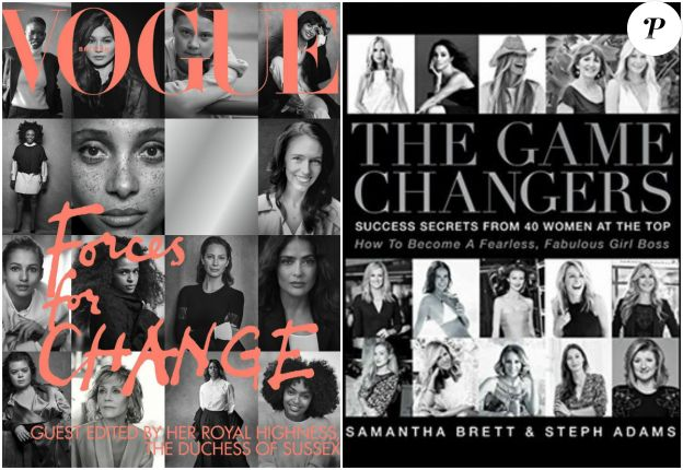 A gauche, la couverture du Vogue britannique de septembre 2019, conçue avec la collaboration de la duchesse Meghan de Sussex comme rédactrice en chef invitée ; à droite, la couverture de l'ouvrage The Game Changers, de Samantha Brett et Steph Adams, paru en 2016 et comprenant un essai rédigé par Meghan Markle.