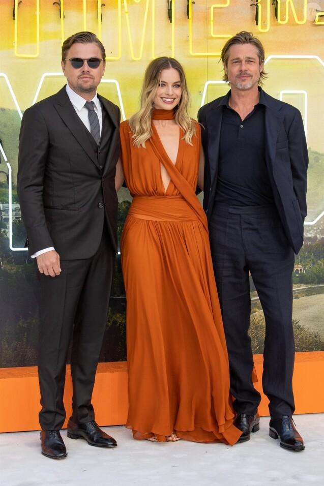 "Leonardo DiCaprio, Margot Robbie, Brad Pitt - Avant-première du film ""Once Upon a Time in Hollywood"" au Odeon Leicester Square à Londres, le 30 juillet 2019."