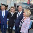 Jazmin Grace Grimaldi avec son père le prince Albert II de Monaco et Ségolène Royal le 11 avril 2018 en principauté lors du salon EVER Monaco dédié aux véhicules écologiques et aux énergies renouvelables. © Michael Alesi/Bestimage