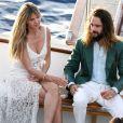 Arrivées en bateau à la réception à la veille du mariage d'Heidi Klum et Tom Kaulitz au restaurant Riccio à Capri, le 2 août 2019.