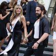 """Heidi Klum et son fiancé Tom Kaulitz quittent à la soirée de lancement du parfum """"7 lovers"""" de C.Roitfeld à l'hôtel Peninsula de Paris le 2 juillet 2019."""