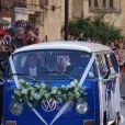 Les mariés Ellie Goulding et Caspar Jopling à la sortie de la cathédrale d'York, le 31 août 2019