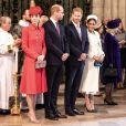 Kate Middleton, duchesse de Cambridge, le prince William, le prince Harry, et Meghan Markle, duchesse de Sussex, lors de la messe en l'honneur de la journée du Commonwealth à l'abbaye de Westminster à Londres le 11 mars 2019.