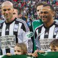 Ronado (Ronaldo Luis Nazario de Lima), Zinédine Zidane, Cafu - 12ème édition du match contre la pauvreté, organisé par le programme des Nations Unies pour le Développement au stade Geoffroy-Guichard à Saint-Étienne, le 20 avril 2015.