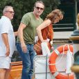 Jean Dujardin et sa femme Nathalie Péchalat - Arrivée des célébrités au Lido lors du 76e Festival du Film de Venise à Venise en Italie, le 31 août 2019.