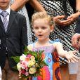 La Princesse Gabriella de Monaco durant le traditionnel Pique-nique des monégasques au parc princesse Antoinette à Monaco le 6 septembre 2019. Cette année, l'événement a du être légérement raccourci à cause de la pluie, la famille princière était entourée par Monseigneur Barsi, le maire de Monaco M. Georges Marsan, par leurs cousins Jean-Léonard de Massy, son fils Melchior et Mélanie De Massy. © Bruno Bebert / PRM / Bestimage