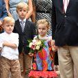 Le prince Jacques, la princesse Gabriella de Monaco et leur cousin Melchior de Massy, en arrière plan, durant le traditionnel Pique-nique des monégasques au parc princesse Antoinette à Monaco le 6 septembre 2019. Cette année, l'événement a du être légérement raccourci à cause de la pluie, la famille princière était entourée par Monseigneur Barsi, le maire de Monaco M. Georges Marsan, par leurs cousins Jean-Léonard de Massy, son fils Melchior et Mélanie De Massy. © Bruno Bebert / PRM / Bestimage