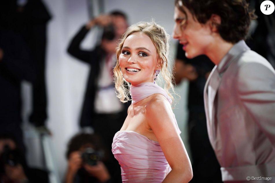 Lily-Rose Depp , Timothée Chalamet lors du 76ème festival