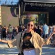 Fanny Leeb pose au Montreux Jazz Festival pour le concert d'Elton John, le 29 juin 2019.