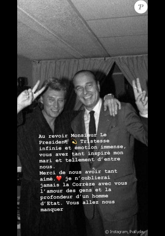 Laeticia Hallyday rend hommage à Jacques Chirac, mort le 26 septembre 2019 à l'âge de 86 ans.