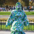 Cardi B visite la Tour Eiffel, habillée d'un look Richard Quinn et de souliers Saint Laurent. Paris, le 28 septembre 2019. © Perusseau - Da Silva / Bestimage
