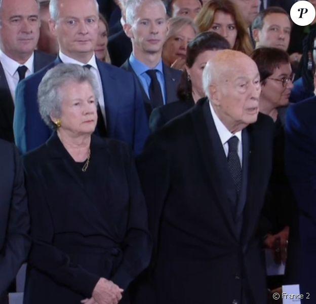 Valéry Giscard d'Estaing et son épouse Anne-Aymone aux obsèques de Jacques Chirac à Paris, le 30 septembre 2019.