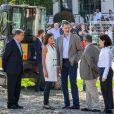 Le roi Felipe VI et la reine Letizia d'Espagne visitent la région inondée d'Arganda del Rey près de Madrid, le 27 septembre 2019.