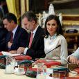 Letizia d'Espagne et son mari le roi Felipe au palais royal d'Aranjuez pour la réunion annuel de la Fondation Cervantes, le 2 octobre 2019.