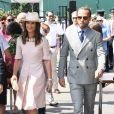 Pippa Middleton (Matthews) et son frère James Middleton (habillé en Ralph Lauren) arrivent au tournoi de Wimbledon 2019 à Londres, Royaume Uni, le 8 juillet 2019.