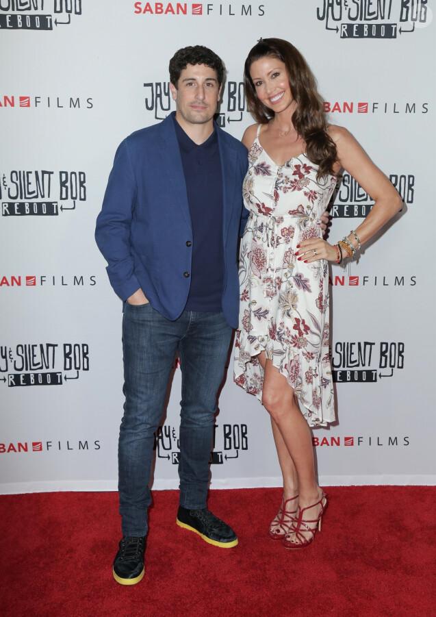 Jason Biggs et Shannon Elizabeth lors de la première du film 'Jay & Silent Bob Reboot' au théâtre TCL Chinese à Los Angeles, le 14 octobre 2019.