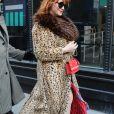 """Christina Hendricks arrive à la tour AOL pour faire la promotion de son show """" Good Girls """" dans le Morning show à New York le 25 janvier 2019."""