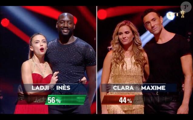 """Clara Morgane et Maxime Dereymez sont éliminés de l'émission """"Danse avec les stars 10"""". TF1. Le 26 octobre 2019."""