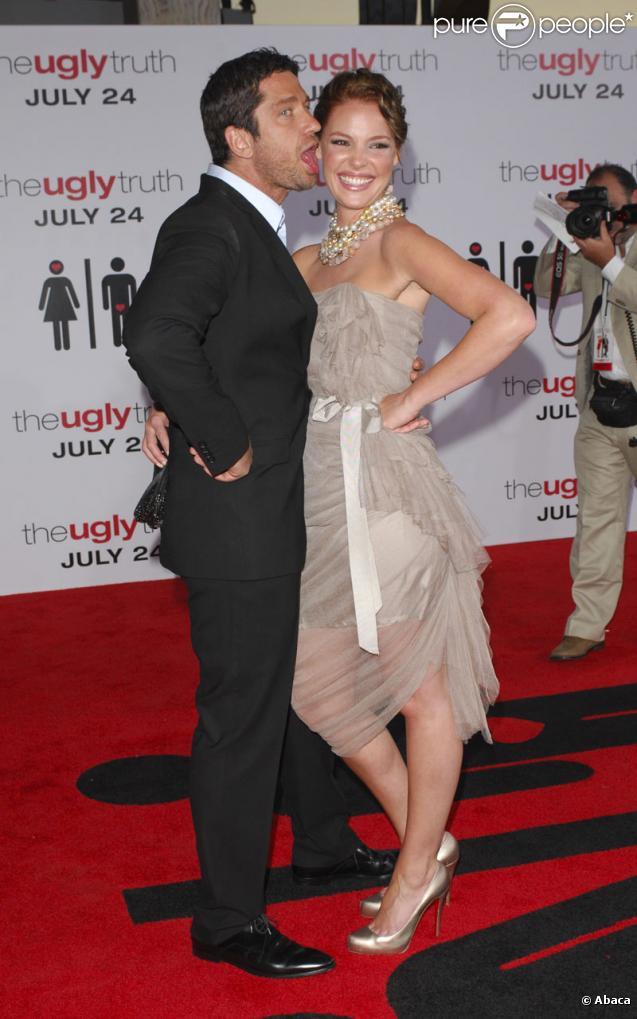 Katherine Heigl et Gerard Butler lors de la première de L'Abominable Vérité à Los Angeles le 16 juillet 2009