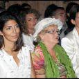 Hoda Roche, Eliette la grand-mère de Laetitia et Alexandra Pastor, la femme de David Hallyday lors de la journée de baptême de Joy à Gstaad en Suisse le 5 juillet 2009