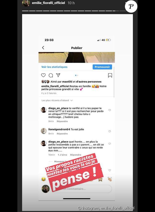 Emilie Fiorelli reçoit des commentaires racistes - Story Instagram, 21 novembre 2019