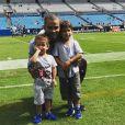 Tony Parker et ses fils Liam et Josh pour leur premier match de football américain, Instagram le 23 septembre 2018.