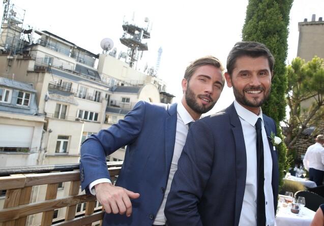 Exclusif - Cocktail du mariage civil de Christophe Beaugrand et de Ghislain Gerin à Paris le 25 juillet 2018. © Dominique Jacovides/Bestimage