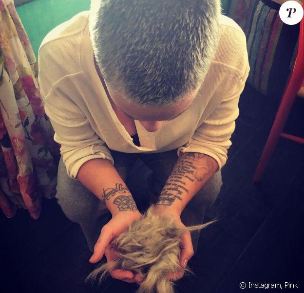 La chanteuse Pink, le crâne rasé, pose sur Instagram, le 5 décembre 2019.