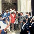Archives - Mariage Johnny Hallyday et Adeline Blondieau à Ramatuelle, le 9 mai 1990.