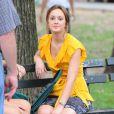 Leighton Meester sur le tournage de la troisième saison de  Gossip Girl , à New York, le 27 juillet 2009 !